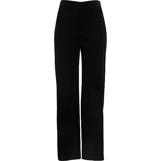 Black velvet soft wide leg trousers