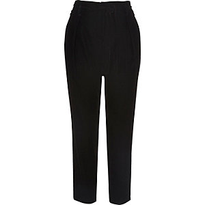 Black velvet soft tie tapered trousers