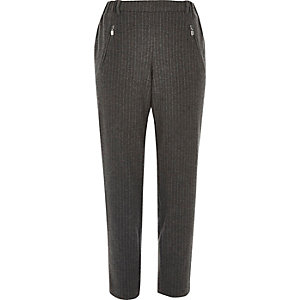 Grey stripe soft tapered trousers