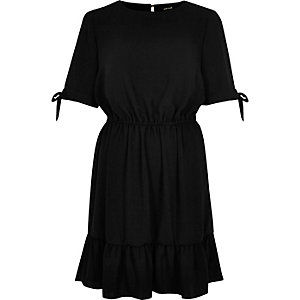 Black waisted drop hem dress