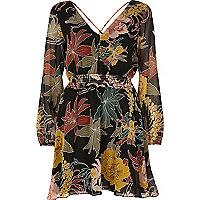 Black boho print swing dress