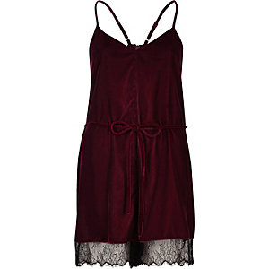 Dark red velvet lace hem playsuit
