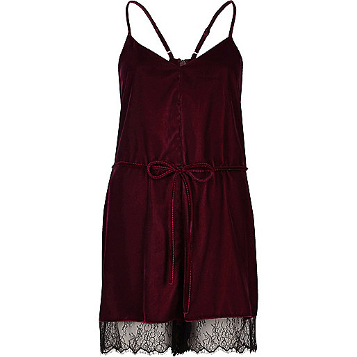 Burgundy velvet lace hem playsuit