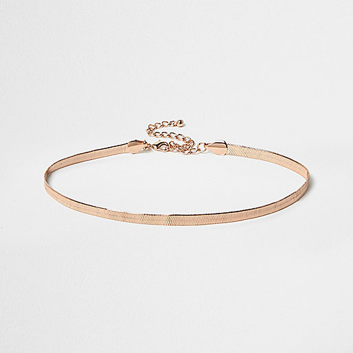 Rose gold tone snake chain choker