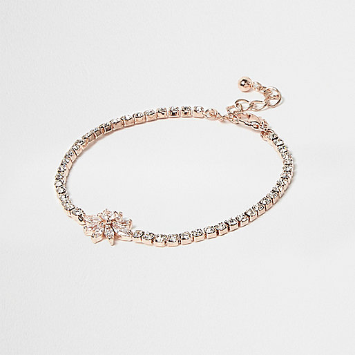 Rose gold flower chain bracelet