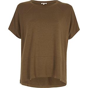 Khaki green raglan T-shirt