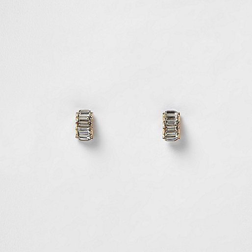 Gold tone stone crystal stud earrings