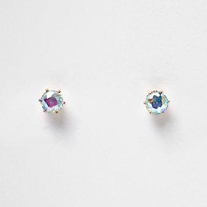 Blue reflective crystal stud earrings