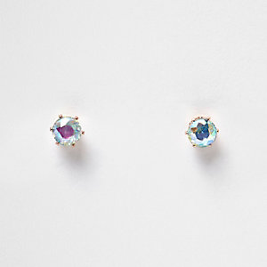 Blue reflective crystal stud earrings