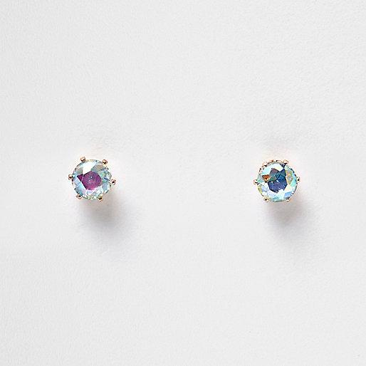 Blue AB effect stone stud earrings