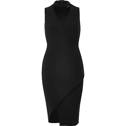 Black wrap choker bodycon dress