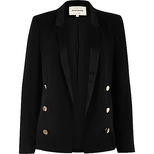Black satin collar blazer