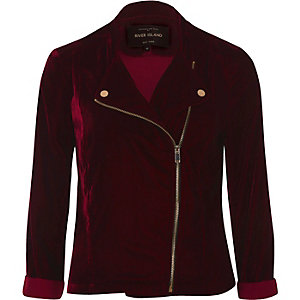 Dark red velvet biker jacket