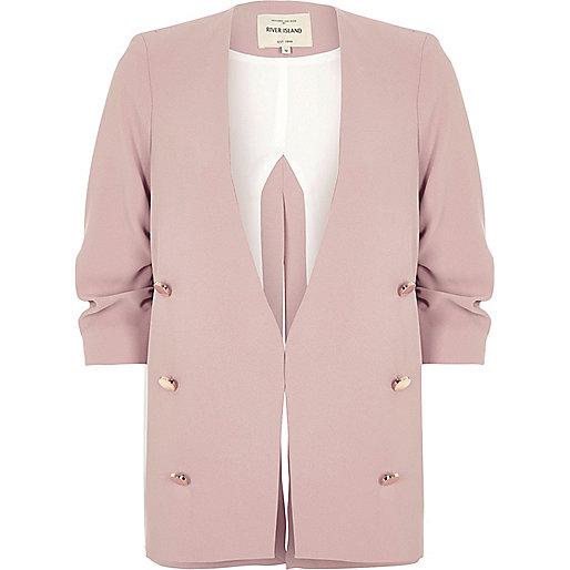 Blush pink ruched sleeve blazer