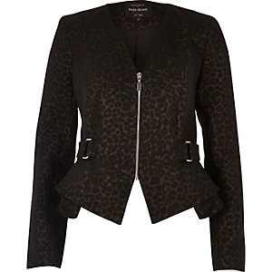 Brown leopard print peplum jacket