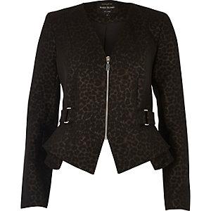 Brown leopard print peplum jacket