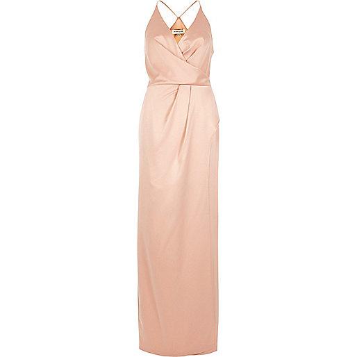 Light pink plunge slit maxi dress