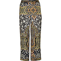RI Plus green print wide leg trousers