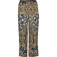 Pantalon large RI Plus à imprimé vert