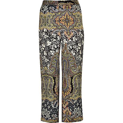 RI Plus green print wide leg pants