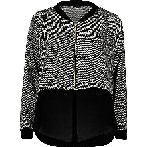 Veste-chemise imprimée grise à ourlet contrastant