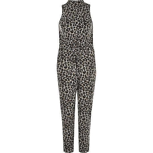 Grey animal print cosy jumpsuit