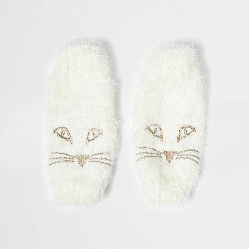 Mitaines en maille duveteuse crème motif chat