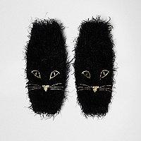 Black fluffy knit cat face handwarmers