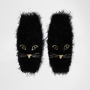 Black fluffy knit cat face handwarmers