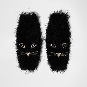 Mitaines noirs en maille duveteuse motif chat