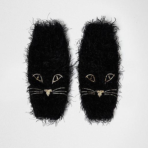 Flauschige Handwärmer mit Katzengesicht