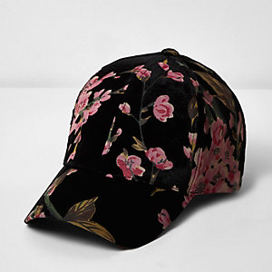 Black rose print cap