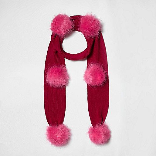 Red knit pom pom scarf