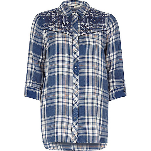 Blue check western embroidered shirt