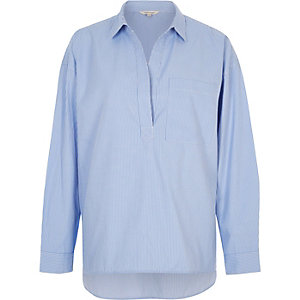 Blue stripe poplin open shirt