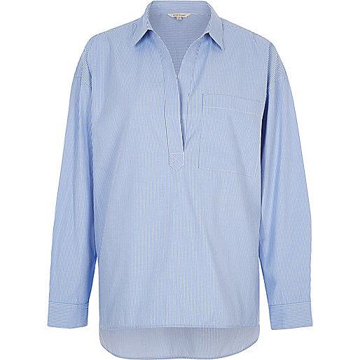 Blue stripe poplin open shirt