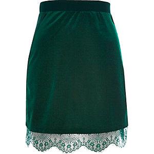 Dark green velvet lace trim mini skirt