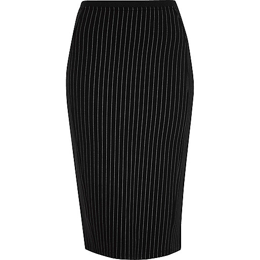 Black pinstripe jersey pencil skirt