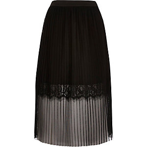 Black pleated lace trim midi skirt