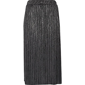Metallic grey pleated midi skirt