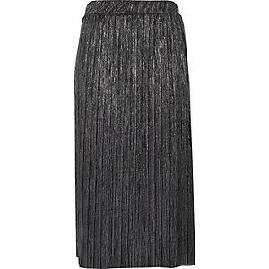 Jupe plissée mi-longue gris métallisé
