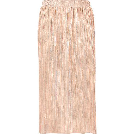 Metallic pink pleated midi skirt