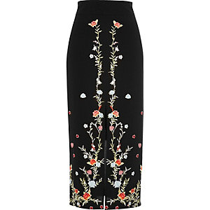 Black floral embroidered pencil midi skirt
