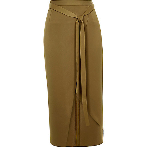 Dark green satin wrap midi skirt