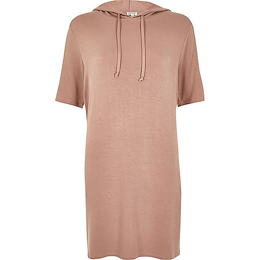 Pink stripe sleeve hooded tunic