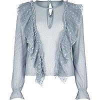 Blaue Bluse mit Rüschen und Mesh-Einsatz