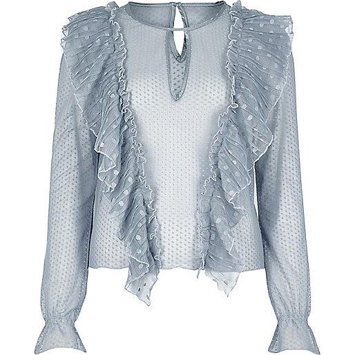 Blue mesh frill blouse