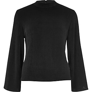 Black split flute sleeve turtleneck top