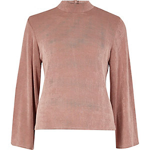 Pink split flute sleeve turtleneck top