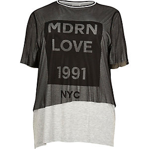 Plus grey mesh print T-shirt